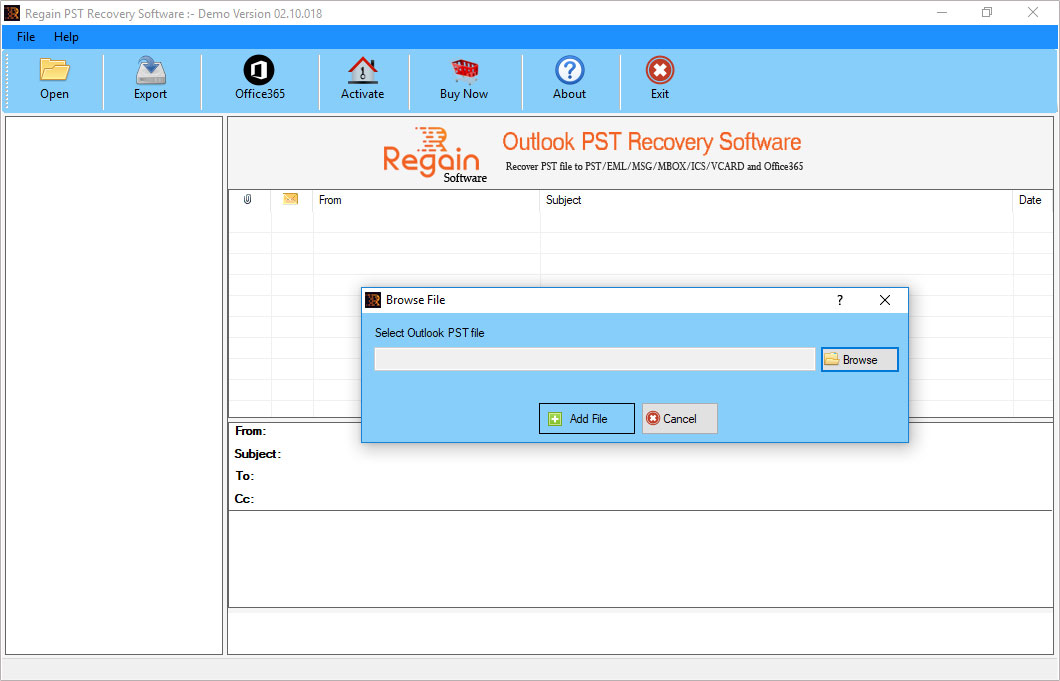 Welcome Screen- Regain Outlook PST Recovery Software